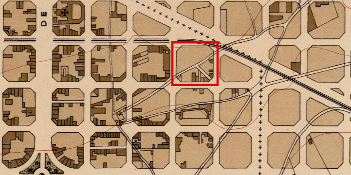 Mapa parcel·lari de 1903 amb el passatge Serra en perpendicular amb l'antic camí dels Àngels. (ICGC)